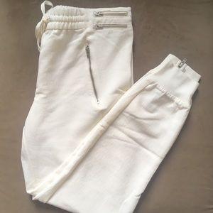 Zara chiffon-like white drawstring joggers
